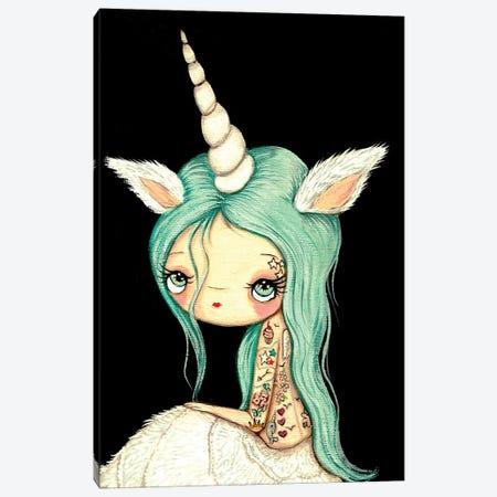 Tattooed Unicorn Canvas Print #KAK57} by Kelly Ann Kost Canvas Artwork