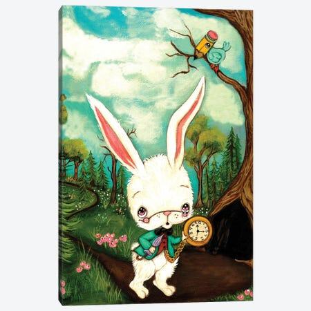 The White Rabbit Canvas Print #KAK59} by Kelly Ann Kost Art Print