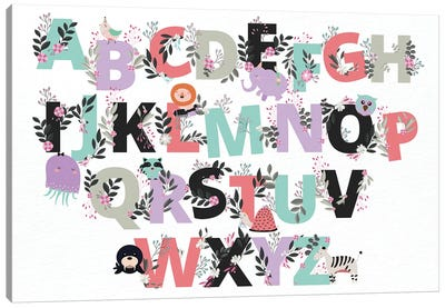 Floral Alphabet Canvas Art Print