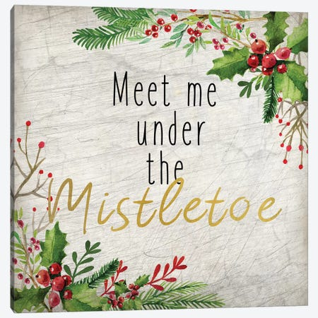 Meet Me Under The Mistletoe Canvas Print #KAL132} by Kimberly Allen Canvas Artwork