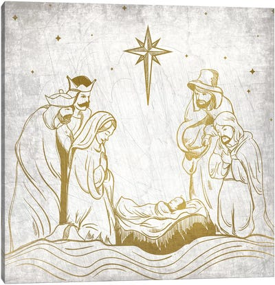 Nativity Gold Canvas Art Print