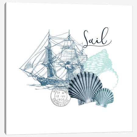 Sea Blues I Canvas Print #KAL273} by Kimberly Allen Canvas Art Print