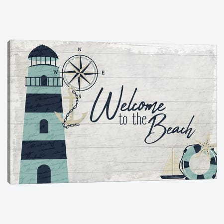 Welcome to the Beach 3-Piece Canvas #KAL290} by Kimberly Allen Canvas Art Print