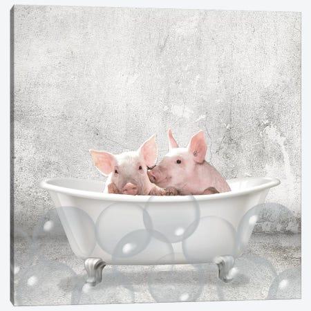Baby Piglets Bath Canvas Print #KAL298} by Kimberly Allen Canvas Art Print