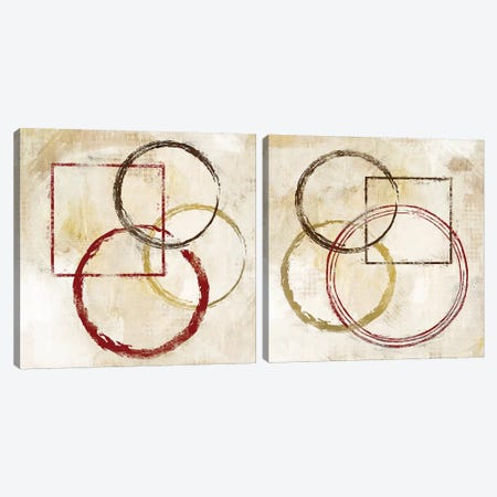 Circles And Squares Diptych Canvas Print Set #KAL2HSET002} by Kimberly Allen Art Print