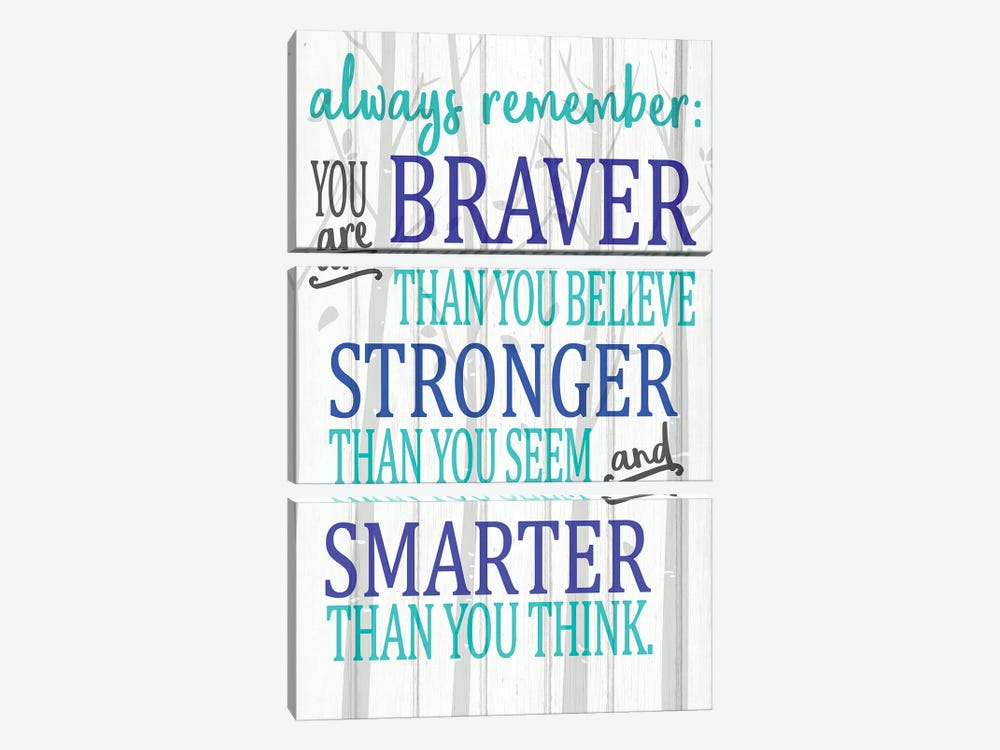 Always Remember You Are Blues by Kimberly Allen 3-piece Canvas Print