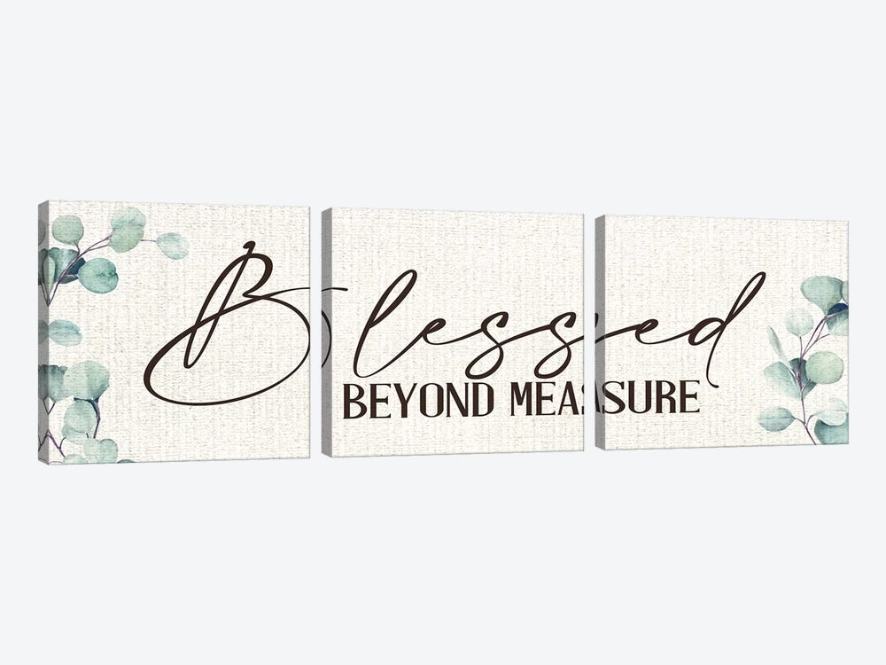Blessed Beyond Measure by Kimberly Allen 3-piece Canvas Print