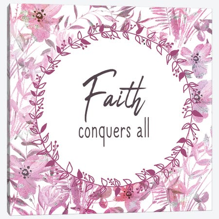 Faith Conquers 3-Piece Canvas #KAL487} by Kimberly Allen Canvas Art Print