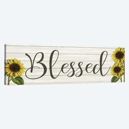 Sunflower Blessed Canvas Print #KAL506} by Kimberly Allen Canvas Art