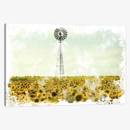Windmill Sunflowers Canvas Print #KAL517} by Kimberly Allen Canvas Print