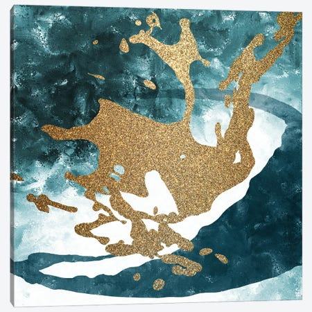Teal Gold Splash I Canvas Print #KAL549} by Kimberly Allen Canvas Art Print