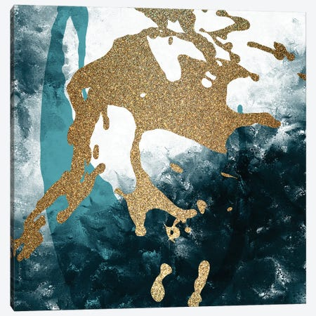 Teal Gold Splash II Canvas Print #KAL550} by Kimberly Allen Canvas Artwork