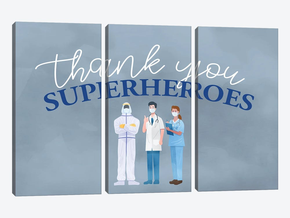 Thank You Superheroes by Kimberly Allen 3-piece Canvas Art Print
