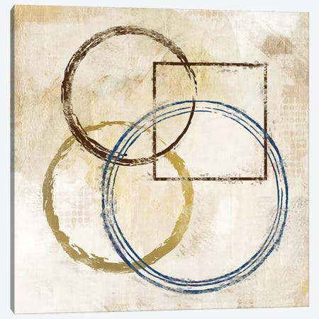 Blue Circles And Squares II Canvas Print #KAL6} by Kimberly Allen Canvas Art