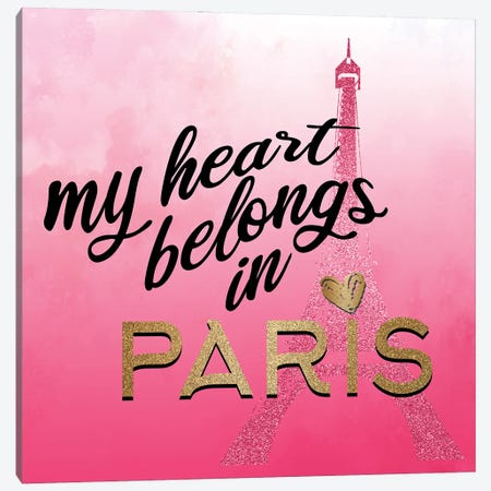 In Paris Hearts I Canvas Print #KAL813} by Kimberly Allen Art Print