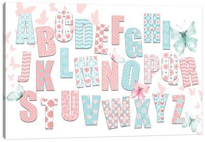 ABCs Pink Teal Canvas Art Print