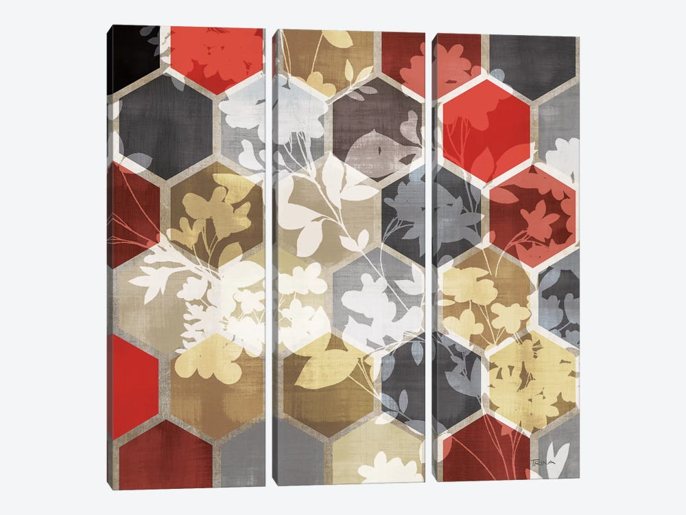 Golden Prism With Red III by Katrina Craven 3-piece Canvas Artwork