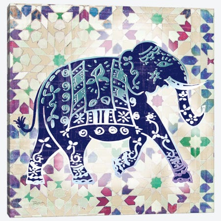 Painted Elephant I Canvas Print #KAT15} by Katrina Craven Canvas Art Print