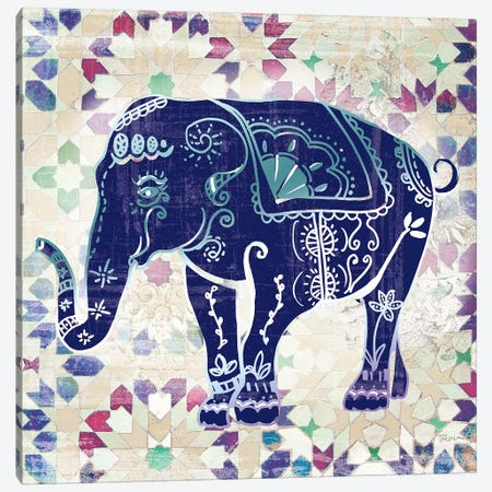 Painted Elephant II Canvas Print #KAT16} by Katrina Craven Canvas Print