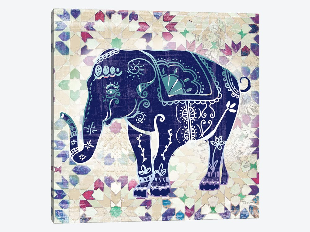 Painted Elephant II by Katrina Craven 1-piece Canvas Art Print