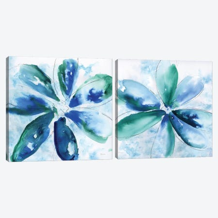 Be Bold Blue Diptych Canvas Print Set #KAT2HSET001} by Katrina Craven Canvas Artwork