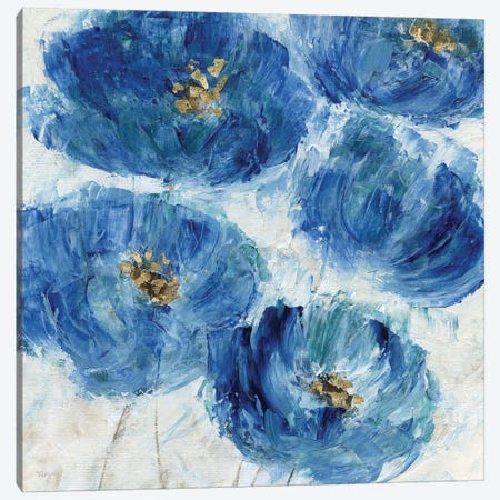 Blue Floral Fleck Canvas Print #KAT49} by Katrina Craven Canvas Print