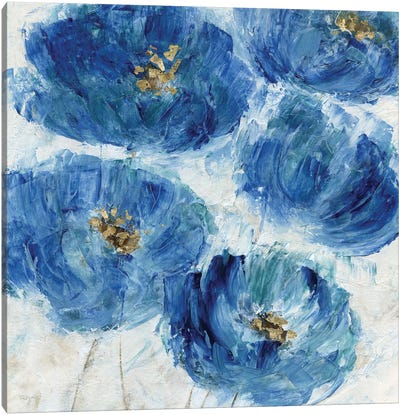 Blue Floral Fleck Canvas Art Print