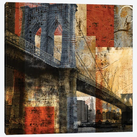 Brooklyn Bridge Canvas Print #KAT57} by Katrina Craven Art Print