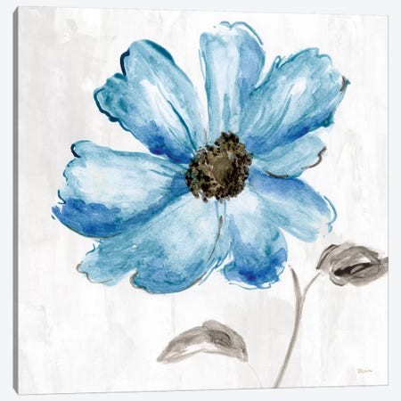 Blue Floral Canvas Print #KAT72} by Katrina Craven Canvas Wall Art