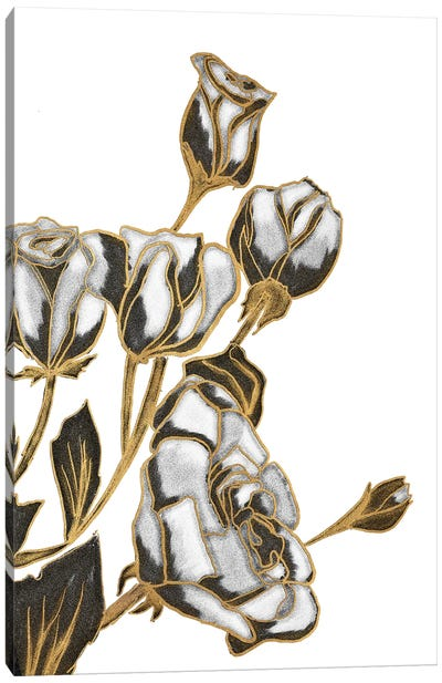 Black, White and Gold Roses Canvas Art Print