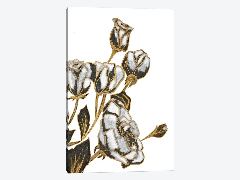 Black, White and Gold Roses by Kali Wilson 1-piece Canvas Print