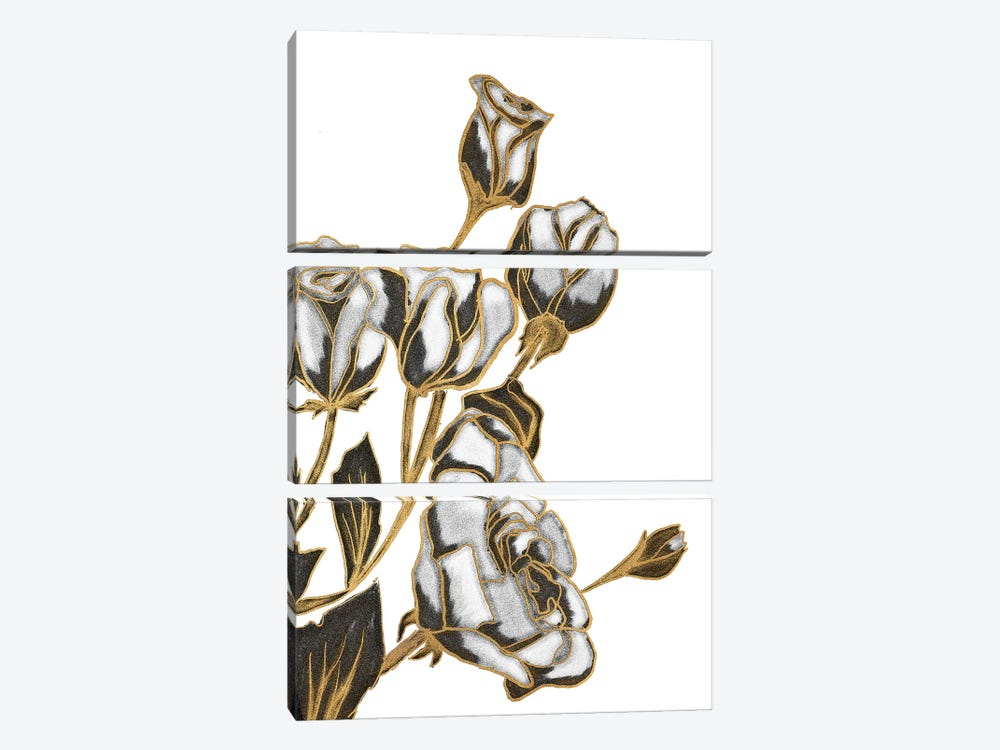 Black, White and Gold Roses by Kali Wilson 3-piece Canvas Art Print