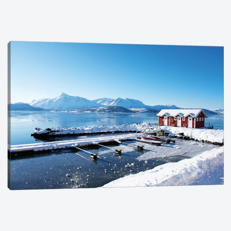 Fishing Dock on the Fjord Canvas Print #KAW7} by Kali Wilson Canvas Art