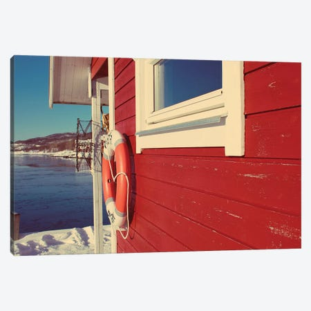 Lake House in Winter Canvas Print #KAW8} by Kali Wilson Canvas Art Print