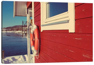 Lake House in Winter Canvas Art Print