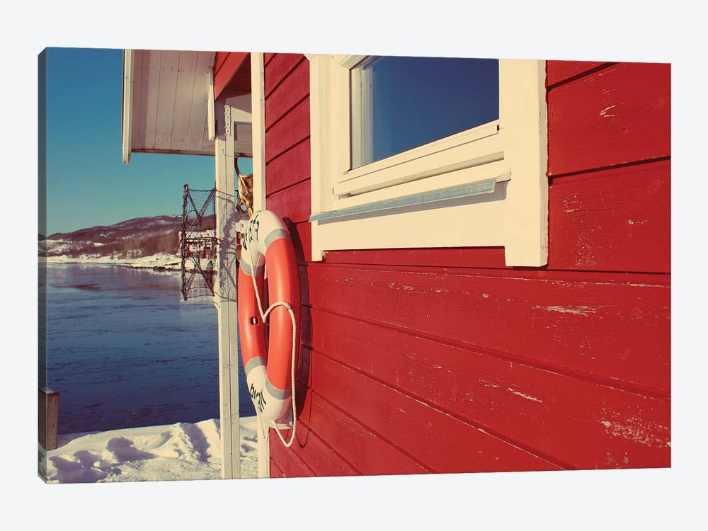 Lake House in Winter by Kali Wilson 1-piece Canvas Artwork