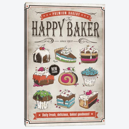 Happy Baker Canvas Print #KAY15} by Ester Kay Canvas Artwork