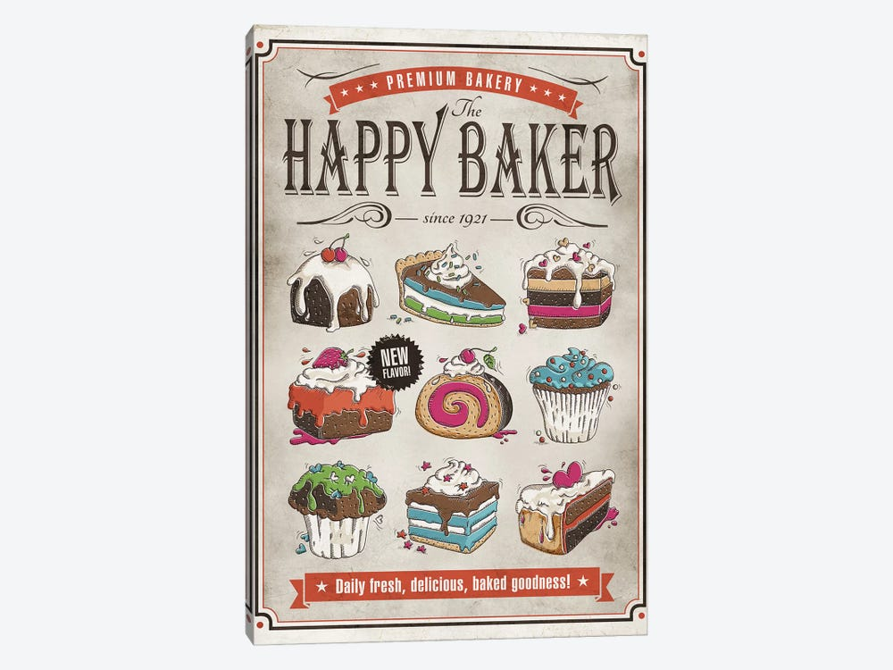 Happy Baker by Ester Kay 1-piece Canvas Art Print