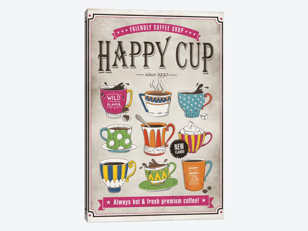Happy Cup 1-piece Canvas Wall Art