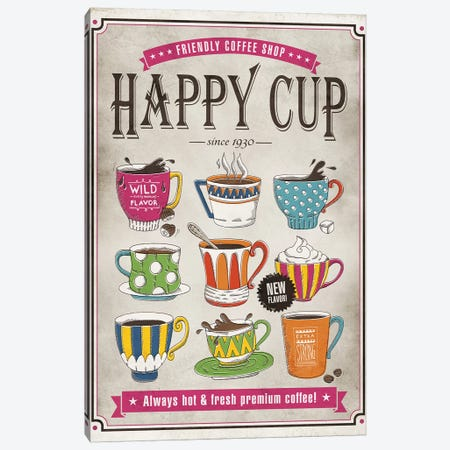 Happy Cup Canvas Print #KAY16} by Ester Kay Canvas Art