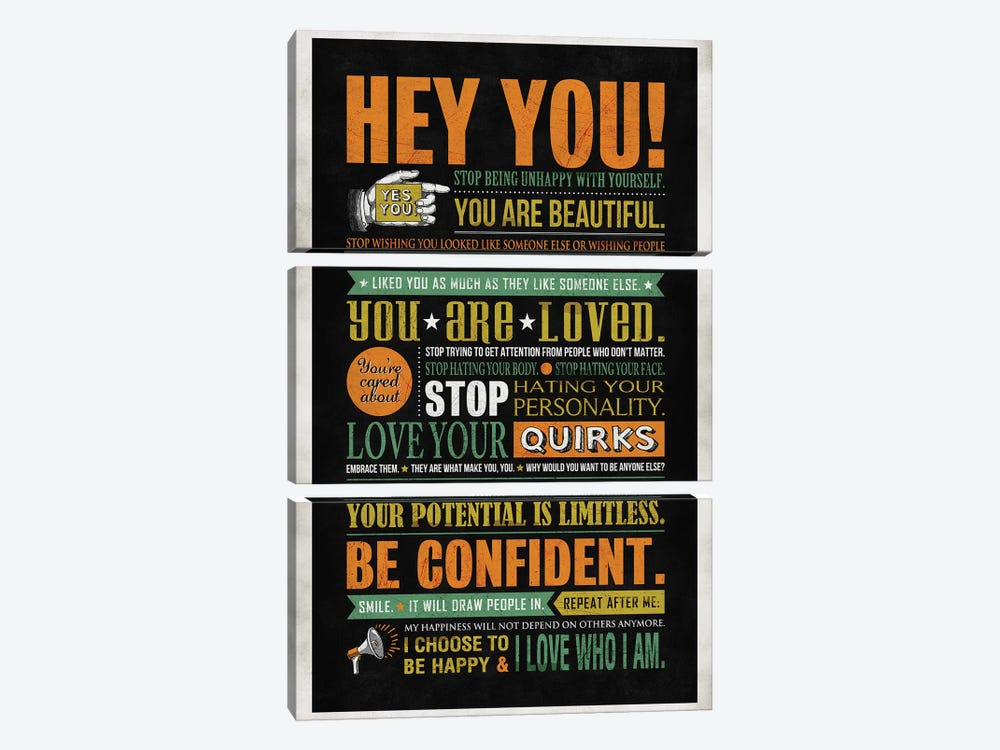 Hey You by Ester Kay 3-piece Canvas Art Print