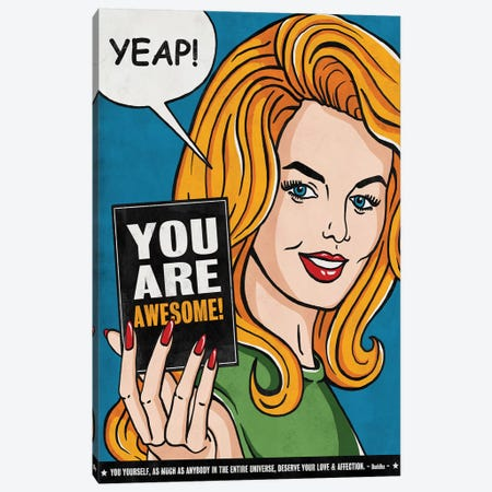 You Are Awesome Canvas Print #KAY46} by Ester Kay Canvas Print