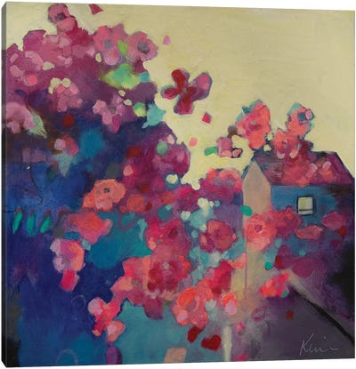 Home Behind The Cherry Blossoms Canvas Art Print