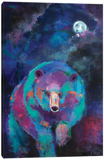 Bear's Nightly Wander Canvas Art Print