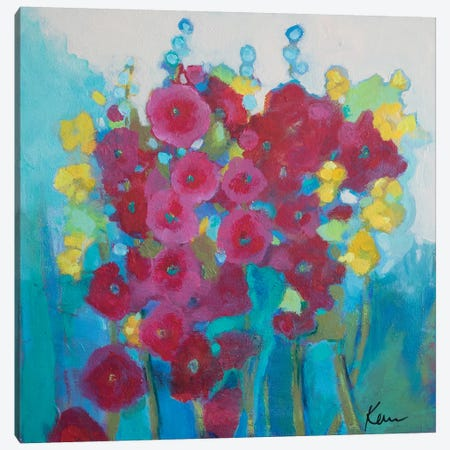 Hollyhock Happiness Canvas Print #KBC68} by Kerri Blackman Canvas Artwork