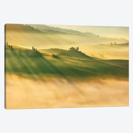 Foggy Valley... Canvas Print #KBR18} by Krzysztof Browko Canvas Wall Art
