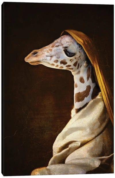 Portrait Of A Young Giraffe Canvas Art Print