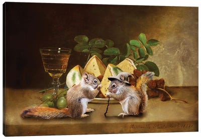 Red Squirrels Still Life Canvas Art Print