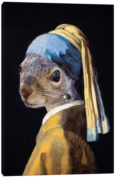 Squirrel With A Pearl Earring Canvas Art Print