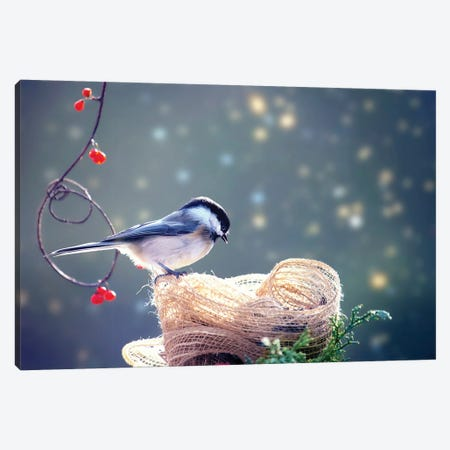 Chickadee Winter Bliss Canvas Print #KBU23} by Karen Burke Canvas Wall Art